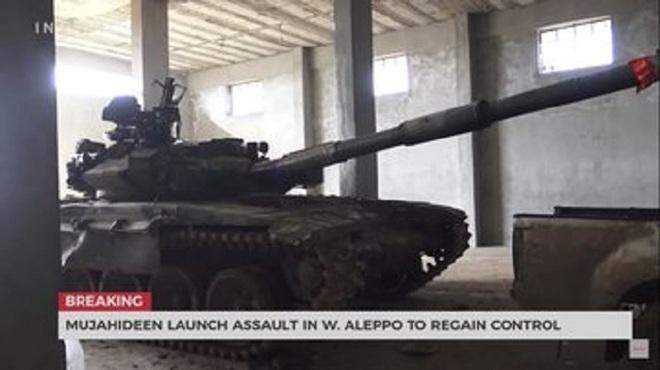 Xe tăng T-90 Syria bị phiến quân tóm sống, nghênh ngang đánh trả quân chính phủ - Ảnh 1.