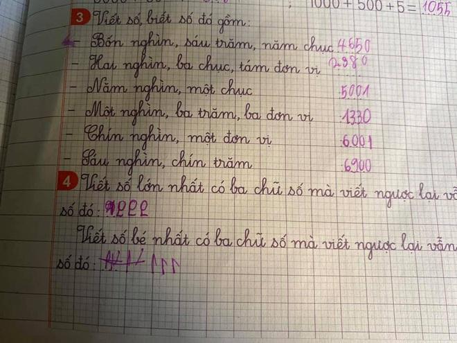 Giải bài tập: Viết số lớn nhất có 3 chữ số mà viết ngược lại vẫn là số đó, học sinh cấp 1 có đáp án không thể nhịn cười - Ảnh 1.