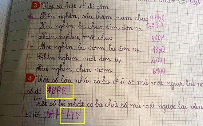 """Giải bài tập: """"Viết số lớn nhất có 3 chữ số mà viết ngược lại vẫn là số đó"""", học sinh cấp 1 có đáp án không thể nhịn cười"""