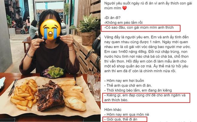 """Tăng 2kg mỗi tháng vì bạn trai rủ đi ăn, cô gái bất ngờ với sự thật sau câu nói: """"Anh thích ngắm em béo"""""""