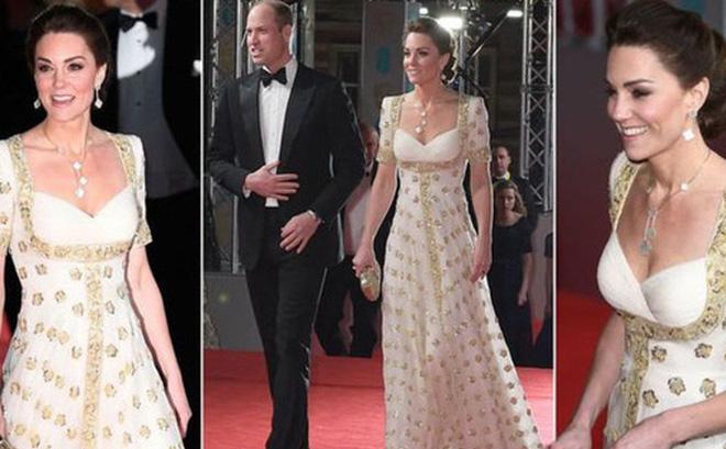 """Công nương Kate mặc váy cũ 7 năm trước lên thảm đỏ vẫn tỏa sáng như nữ thần, Meghan lại """"muối mặt"""" khi bị châm chọc công khai"""
