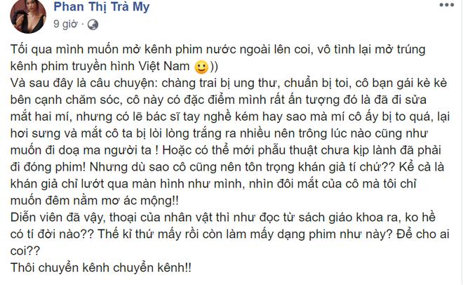 Bị đồng nghiệp mỉa mai phẫu thuật chưa lành đã đóng phim, Hương Giang lên tiếng - Ảnh 1.
