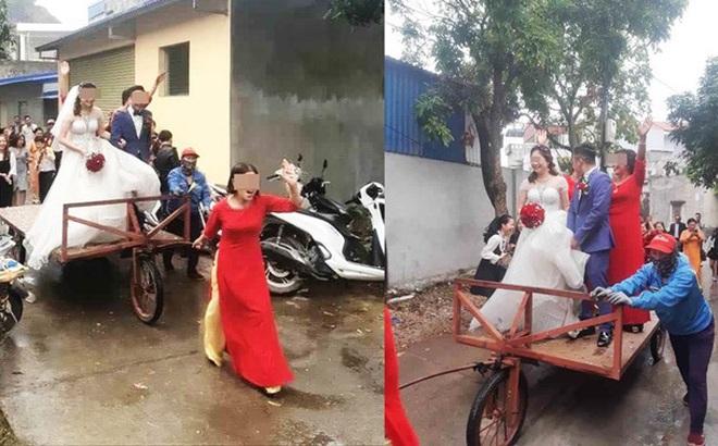 Màn rước dâu độc - lạ bằng xe tự chế, mẹ chồng xung phong kéo xe khiến cô dâu, chú rể cười không dứt
