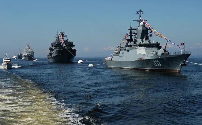 Tàu chiến Hạm đội Thái Bình Dương Hải quân Nga tiến hành tập trận trên biển Nhật Bản
