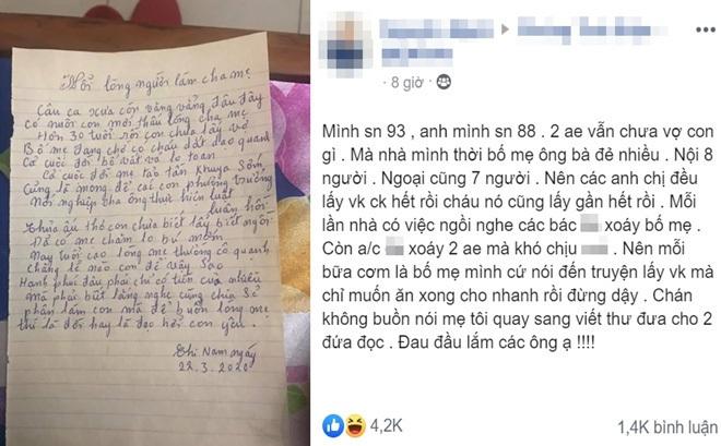 """2 anh em không chịu lấy vợ bị mẹ viết thư thúc giục: """"Hạnh phúc đâu phải chỉ có tiền của nhiều"""""""