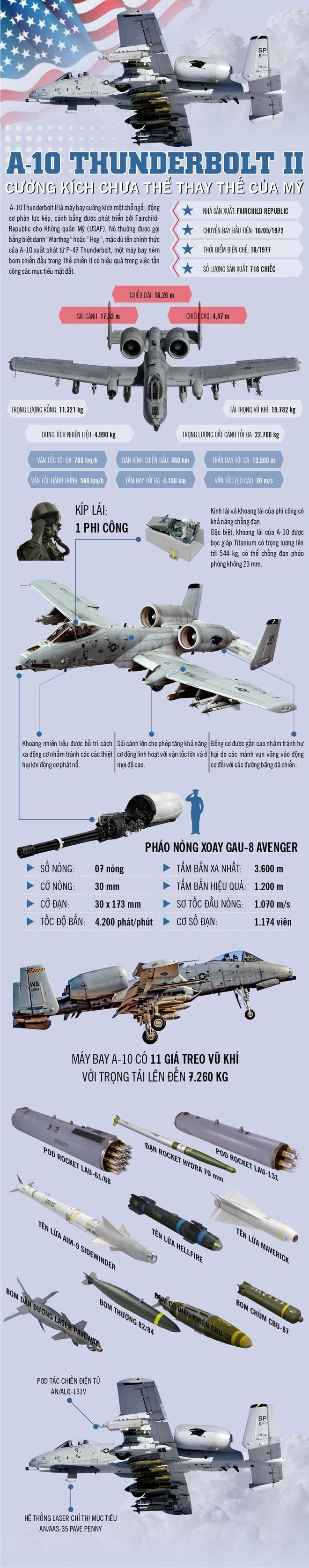Infographic: A-10 Thunderbolt II - cường kích chưa thể thay thế của Mỹ - Ảnh 1.