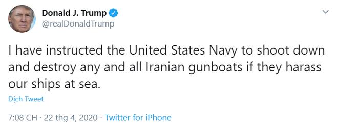 NÓNG: Tổng thống Trump hạ lệnh rắn chưa từng có - Tiêu diệt luôn và ngay tàu chiến Iran - Ảnh 1.