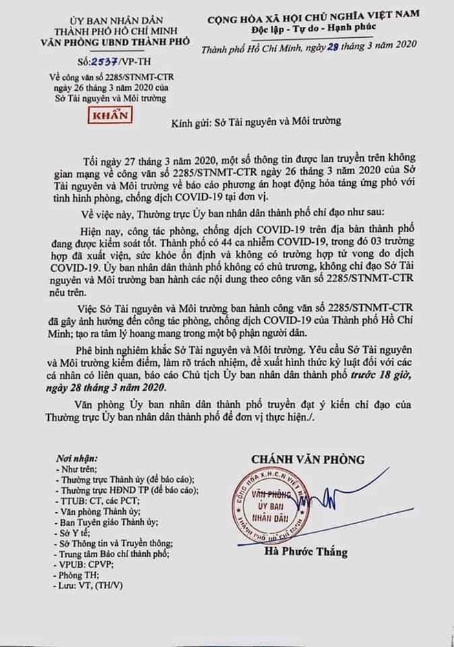 PGĐ Sở Tài Nguyên Môi trường TPHCM bị khiển trách vì văn bản hỏa táng - Ảnh 1.