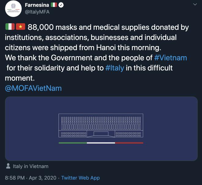 Bộ ngoại giao Italy lên Twitter cảm ơn Chính phủ và nhân dân Việt Nam hỗ trợ chống COVID-19 - Ảnh 1.