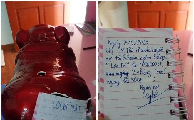 Vay tiền em gái, chị ngỡ ngàng khi thấy giấy nợ, mức lãi hằng ngày được dán trên lợn đất