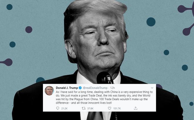"""TT Trump gọi COVID-19 là """"dịch bệnh đến từ TQ"""", nói """"100 thỏa thuận thương mại cũng chẳng bù đắp nổi"""""""