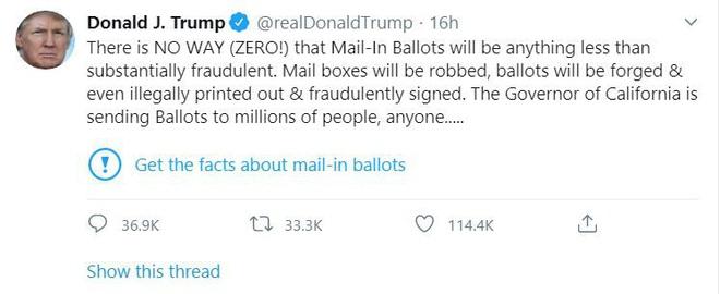 Ông Trump giận dữ vì các tweet bị Twitter dán nhãn gây hiểu lầm - ảnh 1