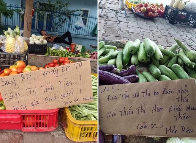 Say xỉn nhưng vợ bắt ra bán rau, người đàn ông viết tấm biển thông báo khiến tất cả không thể nhịn cười - Ảnh 1.