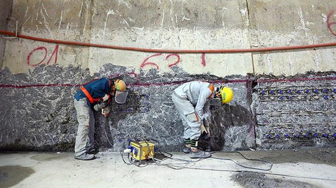 Công nhân làm việc dưới hầm sâu 19 mét ga Nhổn - Ga Hà Nội ngày nắng nóng - Ảnh 11.