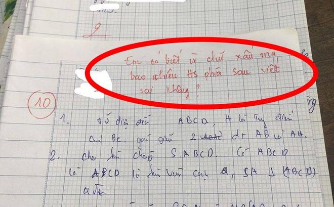 """Bài kiểm tra được điểm 10 nhưng lời phê của giáo viên """"có 1-0-2"""" khiến ai cũng chú ý"""