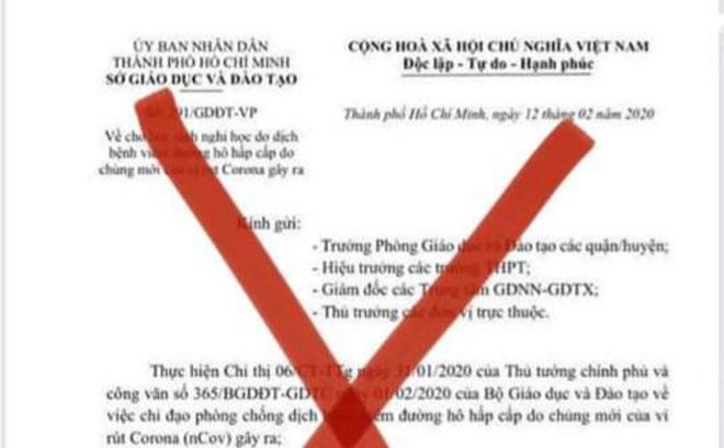 Sở GD&ĐT TPHCM bị làm giả công văn kéo dài thời gian nghỉ học vì dịch Covid-19