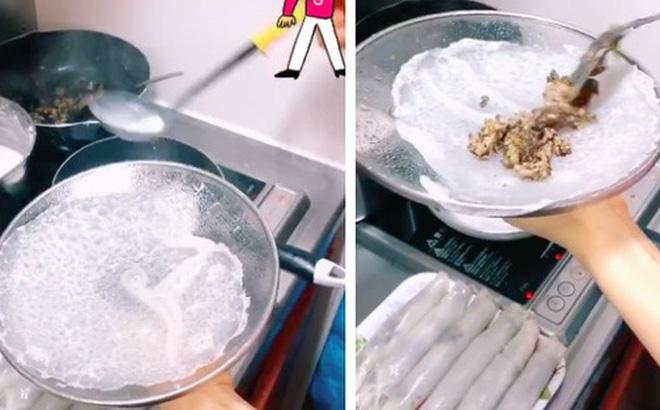 """Cô gái chia sẻ cách làm bánh cuốn bằng chảo chống dính cực đơn giản, đặc biệt đến khi bánh """"ra lò"""", ai nhìn cũng thèm """"chảy nước miếng"""""""
