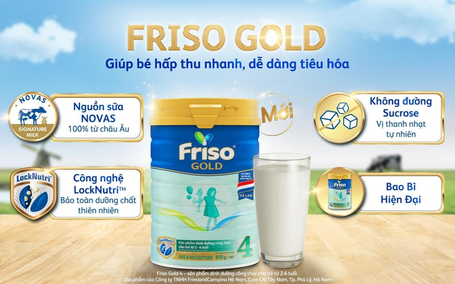 Friso Gold mới với nguồn sữa NOVAS 100% từ Châu Âu giúp bé dễ tiêu hóa