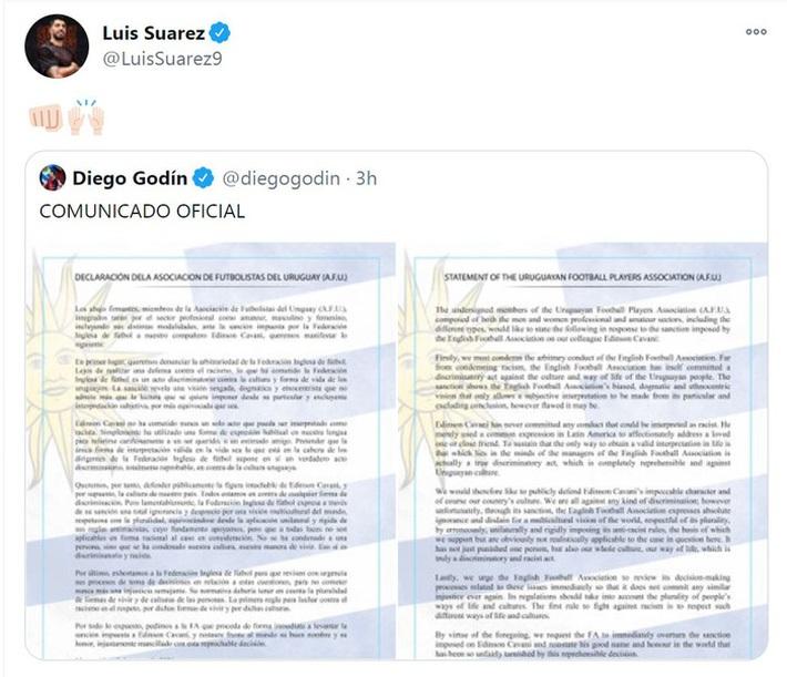 Liên đoàn bóng đá Uruguay tuyên chiến với FA vì lệnh cấm Cavani - Ảnh 1.