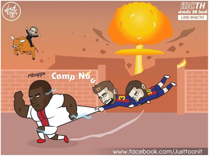 Biếm hóa 24h: Messi và Pique bất lực trước máy chạy Mbappe - Ảnh 1.