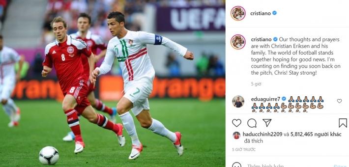 Ronaldo cầu nguyện cho Eriksen, mong đồng nghiệp sớm trở lại sân cỏ - Ảnh 2.
