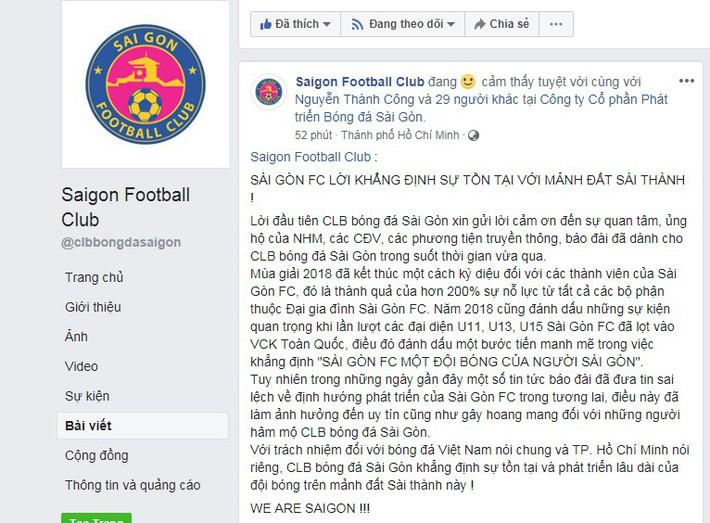 Phủ nhận lời đồn chuyển khẩu về Cần Thơ, CLB Sài Gòn khẳng định sẽ ở lại TP.HCM - Ảnh 1.