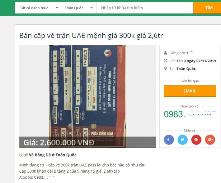 VFF trả vé trận Việt Nam - UAE, dân buôn chợ đen lập tức hét giá gấp 4 lần - Ảnh 1.