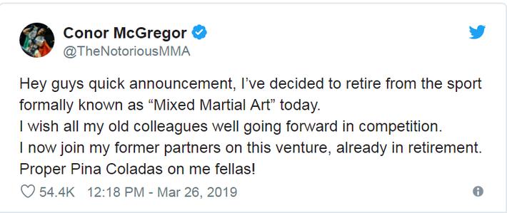 Nóng: Võ sĩ MMA kiếm tiền giỏi nhất lịch sử bất ngờ tuyên bố giải nghệ ở tuổi 30 - Ảnh 1.