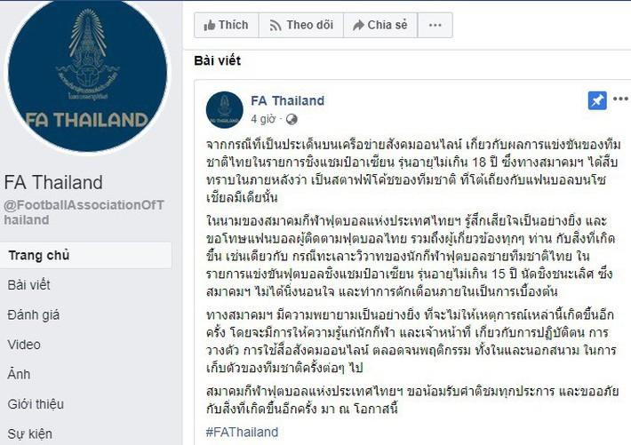 LĐBĐ Thái Lan lên tiếng xin lỗi sau vụ hỗn chiến gây xôn xao của đội U15 - Ảnh 1.