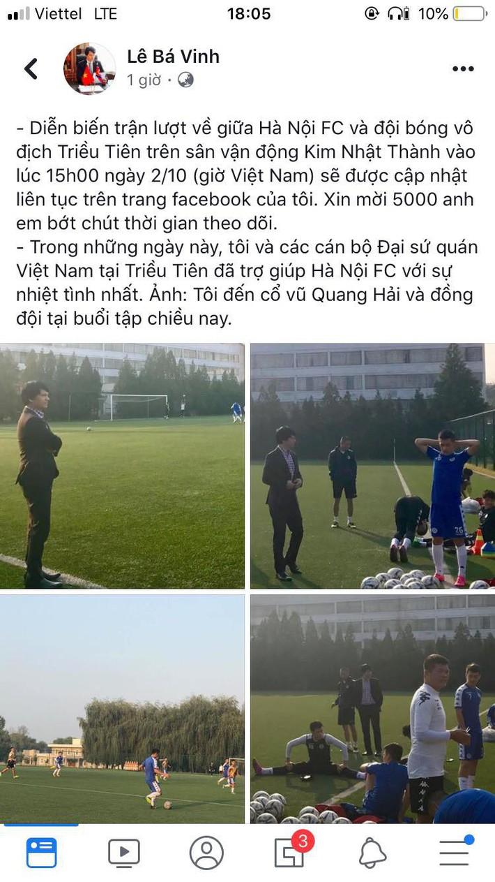 Đại sứ Việt Nam tại Triều Tiên làm điều chưa từng có cho trận đấu lịch sử của Hà Nội FC - Ảnh 1.