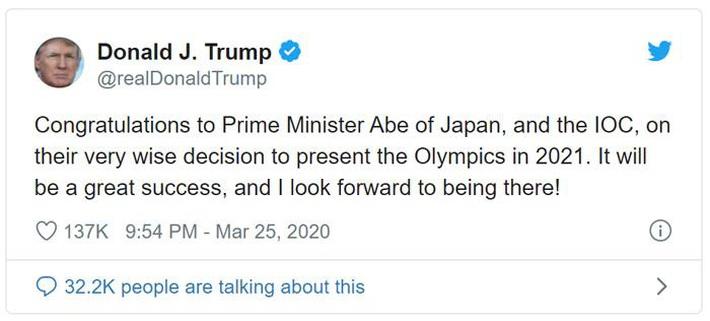 Tổng thống Donald Trump chúc mừng Nhật Bản và IOC hoãn Olympic - Ảnh 1.