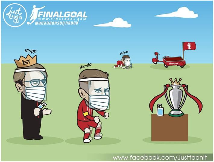 Biếm họa 24h: Liverpool rửa tay chờ nâng cúp vô địch Premier League - Ảnh 1.