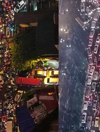 """""""Đặc sản"""" Hà Nội trong ngày mưa nhìn từ trên cao: Ngã tư kẹt cứng, cảm giác không lối thoát"""