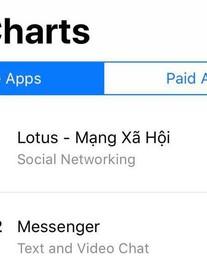 Lễ ra mắt mới diễn ra hơn 1 giờ, MXH Lotus đã leo lên top 1 trên App Store