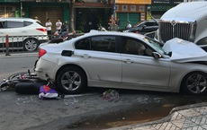 Xe container đâm văng dải phân cách, lao vào ô tô và nhiều xe máy khiến nhiều người bị thương