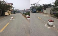 """Xôn xao hình ảnh trụ bê tông """"mọc"""" giữa đường ở Hà Nội"""