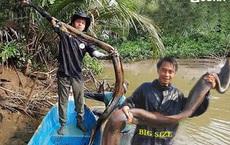 Dùng hết sức kéo sợi dây thừng lên, người đàn ông bắt được 'quái vật' lươn khủng nặng 2,3 kg
