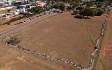 24h qua ảnh: Người Brazil xếp hàng dài chờ tiêm vắc-xin Covid-19
