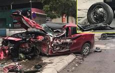 Ô tô Mazda nát đầu không rõ nguyên nhân trên hè phố, hiện trường khiến nhiều người ám ảnh