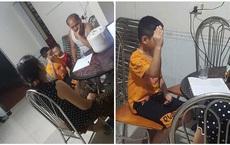 Học online, cậu bé giơ tay phát biểu gần 30 phút, ông bà ngồi bên cạnh thay nhau hỗ trợ