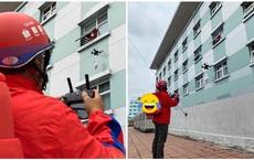 Phòng dịch bệnh, nam shipper dùng flycam giao hàng cho khách, tầng cao cũng không lo