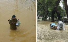 Thầy Hiệu trưởng chèo đò, lội nước mang cơm cho sinh viên đang sống giữa tâm lũ