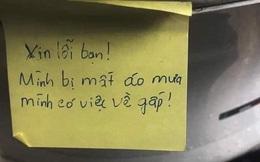 Phát hiện mất áo mưa, thanh niên càng hoang mang khi đọc mẩu giấy nhắn của kẻ trộm