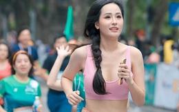 Hoa hậu Mai Phương Thúy nổi bật trên đường chạy