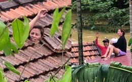 Quảng Bình: Mắc kẹt trong nhà với con nhỏ 1 tháng tuổi, người phụ nữ dỡ ngói kêu cứu giữa biển nước mênh mông