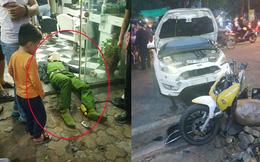 Ảnh hiện trường: Ô tô tông chiến sĩ công an trọng thương do tài xế đạp nhầm chân phanh thành chân ga