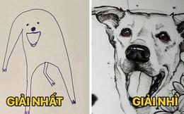 Bức tranh 'cún ngáo' bất ngờ đánh bại mọi đối thủ nặng kí, giật giải quán quân trong cuộc thi vẽ chó