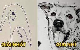"""Bức tranh """"cún ngáo"""" bất ngờ đánh bại mọi đối thủ nặng ký, giật giải quán quân trong cuộc thi vẽ chó"""