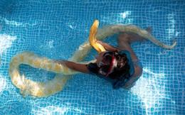 24h qua ảnh: Bé gái tắm trong bể bơi cùng trăn khổng lồ