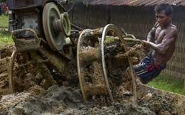 24h qua ảnh: Công nhân dùng máy nhào đất trong nhà máy gạch
